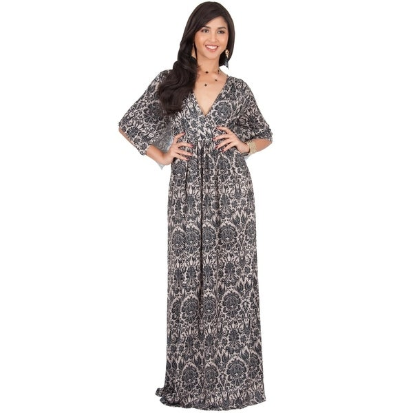 Shop KOH KOH Womens Long Bohemian Print Short Sleeve Empire Maxi ... 73e19ec1b