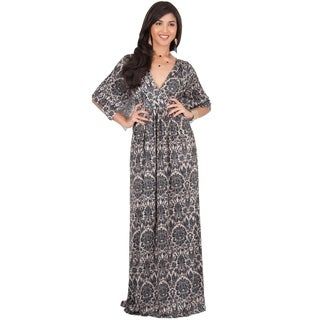 KOH KOH Women's Long Bohemian Print Short Sleeve Empire Waist Maxi Dress