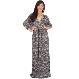 KOH KOH Women's Long Bohemian Print Short Sleeve Empire Waist Maxi Dress