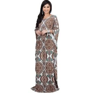 KOH KOH Women's Bohemian Print Kaftan Sleeve Maxi Dress