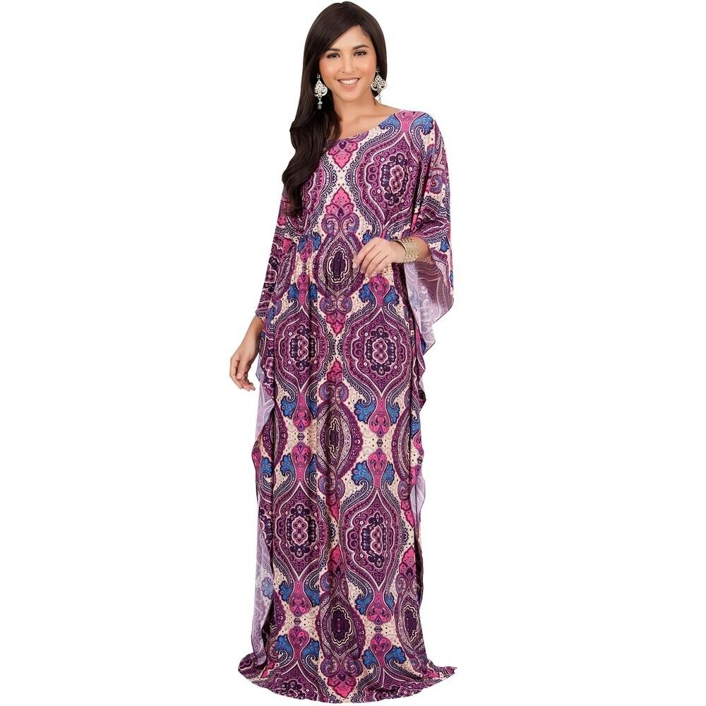 KOH KOH Womens Bohemian Print Kaftan Sleeve Maxi Dress