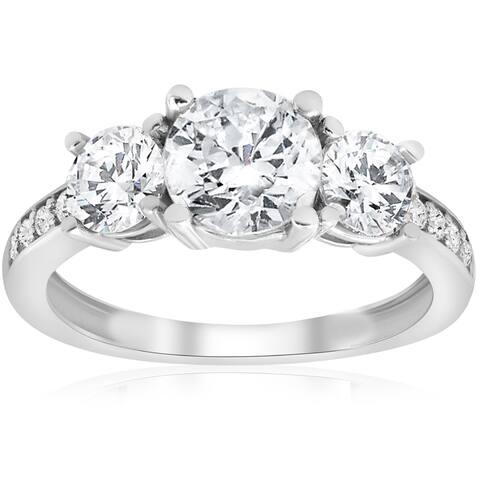 14K White Gold 1 3/4 ct TDW Diamond Three Stone Engagement Ring (J-K,I2-I3)
