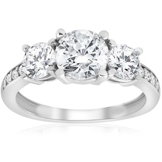 14K White Gold 1 3/4 ct TDW Diamond Three Stone Engagement Ring (J-K,I2-I3)