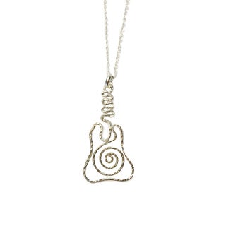 Sterling Silver Overlay Violin Pendant Necklace