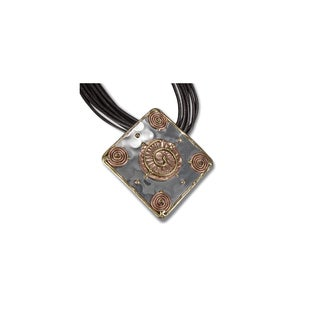 Mixed Metal Leather Cord Pendant Necklace