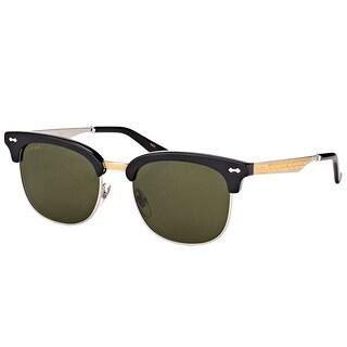 Gucci GG 0051S 001 Black Gold Plastic Fashion Sunglasses Green Lens