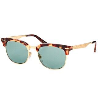 Gucci GG 0051S 002 Havana Gold Plastic Fashion Sunglasses Blue Lens