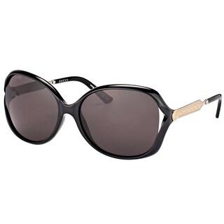 Gucci GG 0076S 001 Black Silver Plastic Fashion Sunglasses Grey Lens