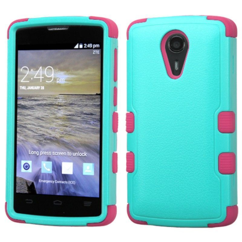 new concept 0abc9 7c869 Insten Hard PC/ Silicone Dual Layer Hybrid Rubberized Matte Case Cover For  ZTE Uhura N817
