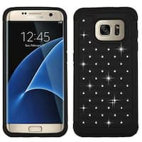 Insten Hard PC/ Silicone Dual Layer Hybrid Rubberized Matte Case Cover with Diamond For Samsung Galaxy S7 Edge