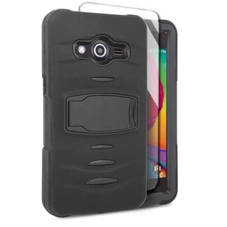 Insten Soft Silicone/ PC Dual Layer Hybrid Rubber Case Cover with Stand/ Screen Protector For Samsung Galaxy Avant