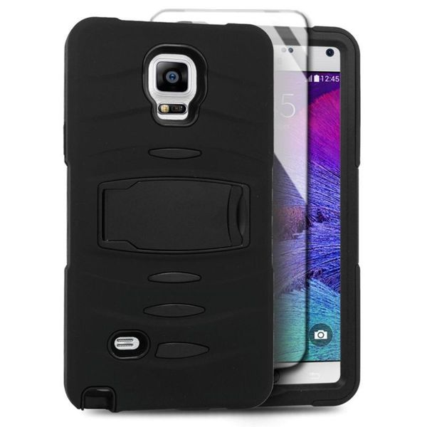 Insten Soft Silicone/ PC Dual Layer Hybrid Rubber Case Cover with Stand/ Screen Protector For Samsung Galaxy Note 4