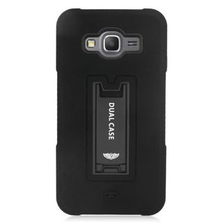 Insten Soft Silicone/ PC Dual Layer Hybrid Rubber Case Cover with Stand For Samsung Galaxy Grand Prime