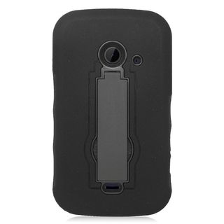 Insten Soft Silicone/ PC Dual Layer Hybrid Rubber Case Cover with Stand For ZTE Prelude 2 Z667/ Whirl 2/ Zinger Z667T