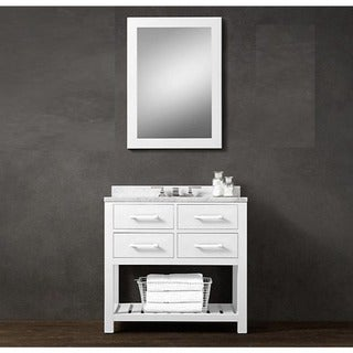 36-inch Belvedere Modern Freestanding White Bathroom Vanity with Marble Top