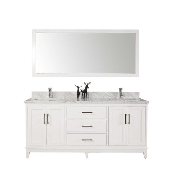 shop 60 inch belvedere modern freestanding white double bathroom vanity with marble top free. Black Bedroom Furniture Sets. Home Design Ideas