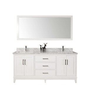 60-inch Belvedere Modern Freestanding White Double Bathroom Vanity with Marble Top