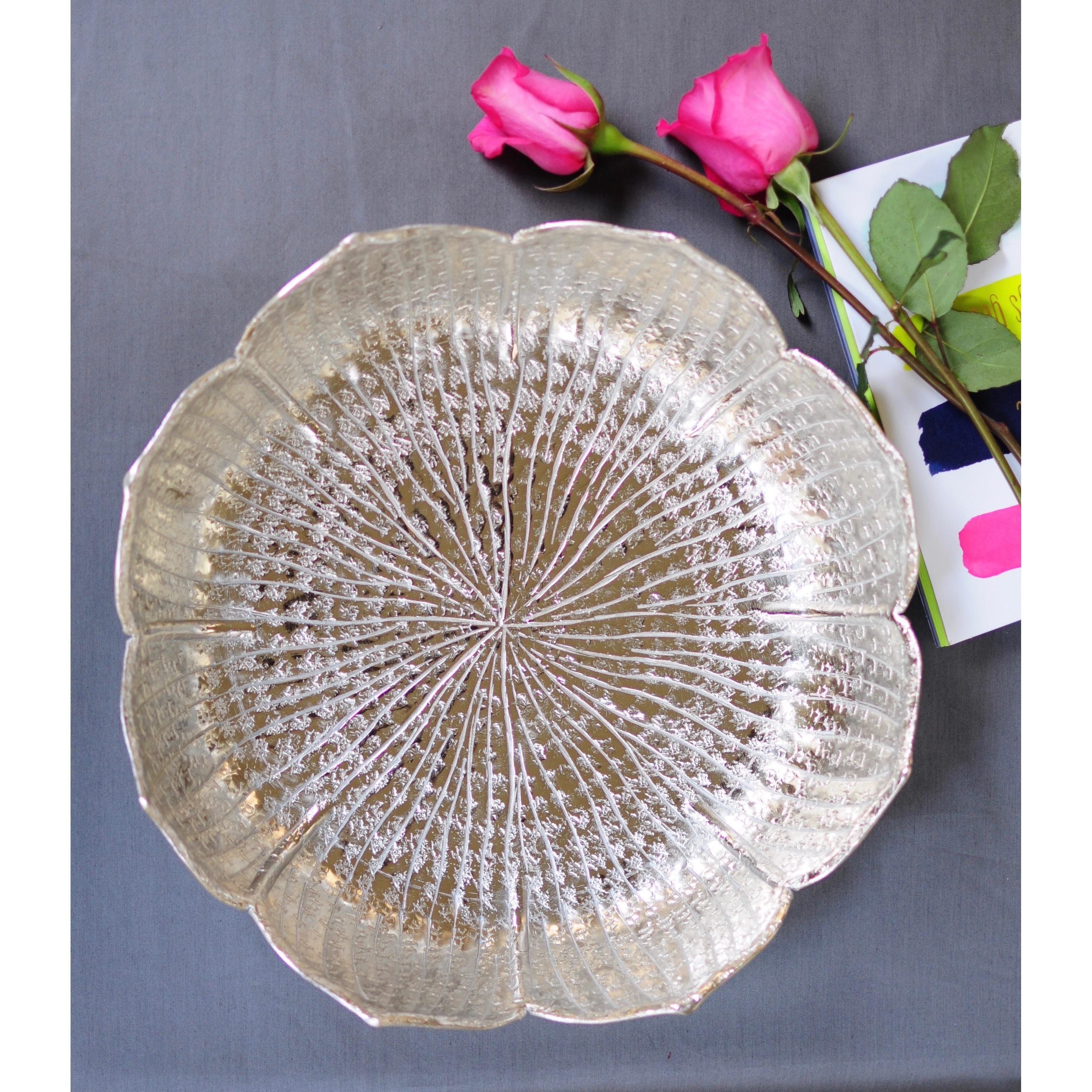 Pink Lemonade Silver Aluminum Lotus Tray (Kandala Collect...