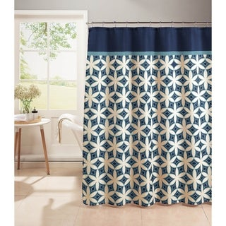 Harajuku Diamond Weave Textured Shower Curtain with Metal Roller Hooks