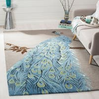 Safavieh Bella Contemporary Handmade Blue / Beige Wool Rug - 5' x 8'