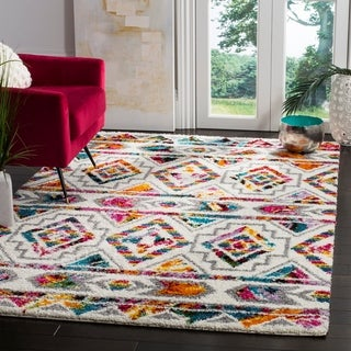 Safavieh Fiesta Shag Cream / Multi Area Rug (6'7 x 9'2)
