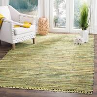 Safavieh Hand-Woven Rag Cotton Rug Light Green / Multicolored Cotton Rug - 5' x 8'