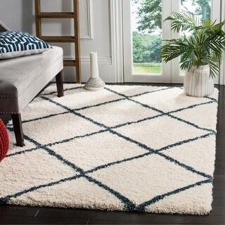 Safavieh Hudson Ivory / Slate Blue Shag Rug (5' x 8')