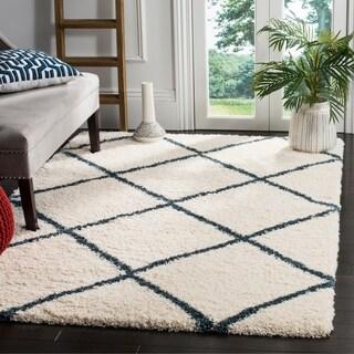 Safavieh Hudson Ivory / Slate Blue Shag Rug (6' x 9')