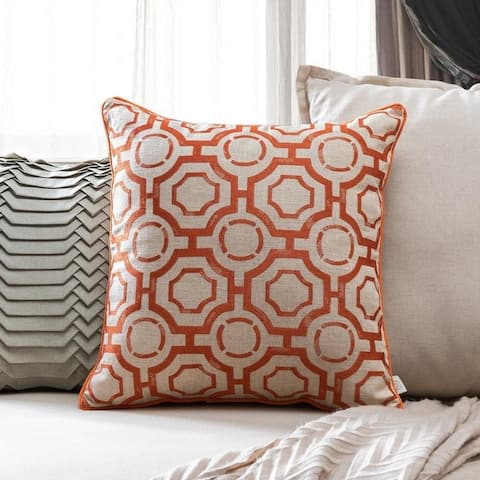 Embroidered Distressed 20-inch x 20-inch Geometric Throw Pillow