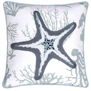 Starfish Crewel Stitch Cotton 18-inch x 18-inch Throw Pillow