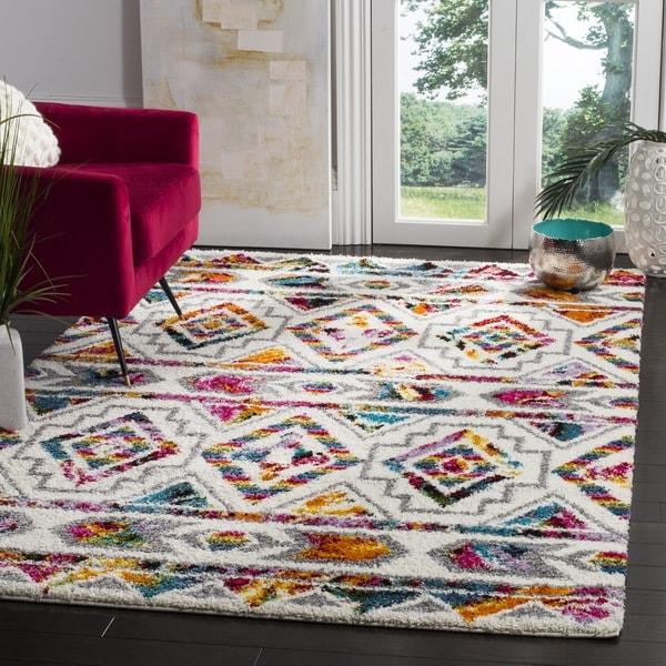 Safavieh Fiesta Shag Cream Multi Area Rug 8 X 10