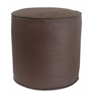 Faux Leather Cylinder Pouf - Ottoman
