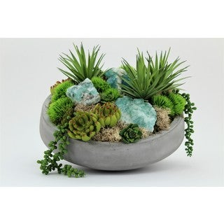 Succulents in Concrete Bowl with Flourite