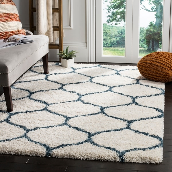 Safavieh Moroccan Blue And Black Area Rug: Shop Safavieh Hudson Moroccan Ogee Ivory / Slate Blue Shag