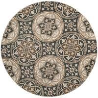 Safavieh Lyndhurst Traditional Slate Blue / Beige Rug - 8' Round