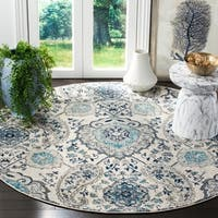 "Safavieh Madison Belle Paisley Boho Glam Cream/ Light Grey Rug - 6'7"" x 6'7"" Round"