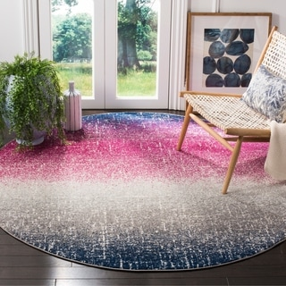 Safavieh Madison Bohemian Fuchsia/ Navy Area Rug (6'7 Round)
