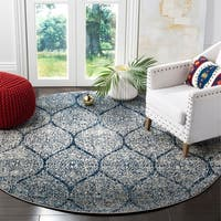 Safavieh Madison Vintage Navy/ Silver Distressed Area Rug - 6'7 Round