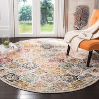 "Safavieh Madison Bohemian Vintage Cream/ Multi Distressed Area Rug - 6'7"" x 6'7"" round"