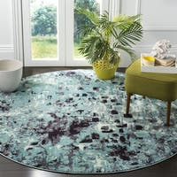 Safavieh Monaco Abstract Watercolor Light Blue/ Multi Distressed Rug - 6'7 Round