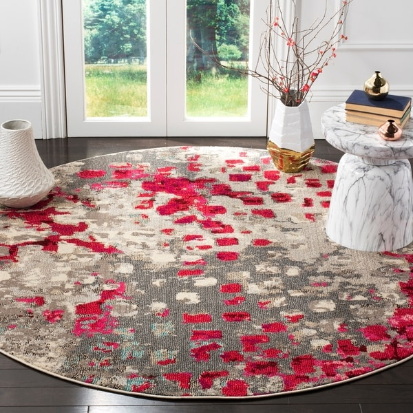 Safavieh Monaco Abstract Grey / Fuchsia Distressed Rug - 6' 7 Round
