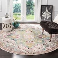"Safavieh Mystique Bohemian Grey/ Light Blue Silky Rug - 6'7"" x 6'7"" round"