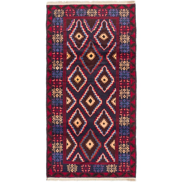 ECARPETGALLERY Hand-Knotted Royal Balouch Blue, Red Wool Rug