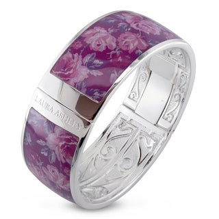 Laura Ashley Rhodium Plated Pink Floral Enamel Bangle (7.5 inches)