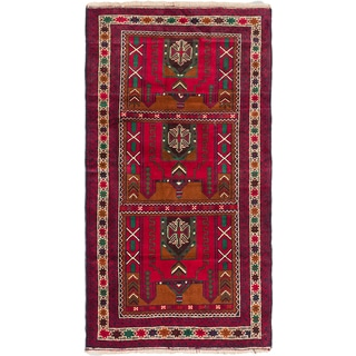 ecarpetgallery Hand-Knotted Finest Rizbaft Blue, Red Wool Rug (3'5 x 6'3)