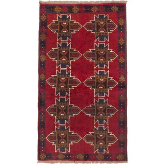 ECARPETGALLERY Hand-Knotted Bahor Blue, Red Wool Rug (3'5 x 5'10)