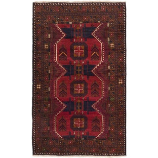 ecarpetgallery Hand-Knotted Royal Balouch Blue, Red Wool Rug (3'10 x 6'5)