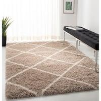 Safavieh Hudson Beige / Ivory Shag Rug - 7' Square
