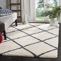 Safavieh Hudson Ivory / Slate Blue Shag Rug - 7' Square