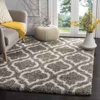 Safavieh Hudson Grey / Ivory Shag Rug - 7' Square